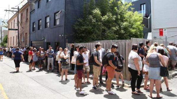 Line outside In-N-Out Burgers pop up store in Surry Hills earlier this year.