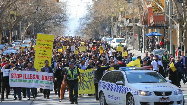 Melbourne taxi drivers march through CBD in protest against Uber (Currie 2015)